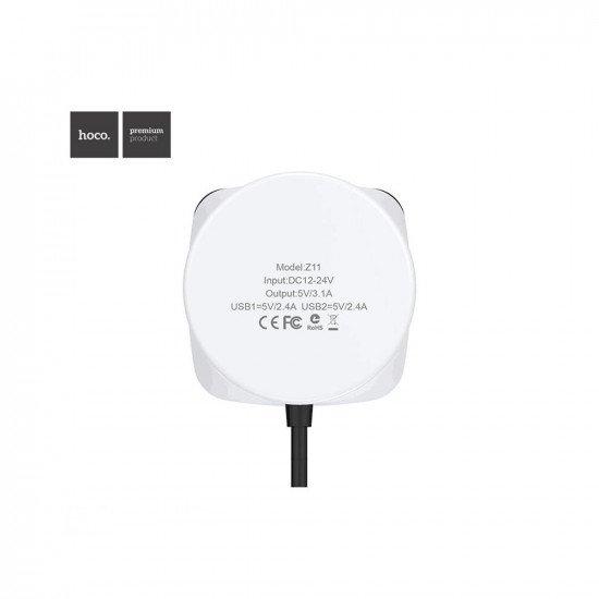 Hoco Z11 Многофункциональное автомобильное зарядное устройство 2 USB +2 прикуривателя